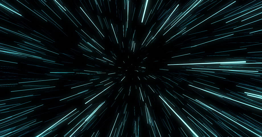 Abstract of warp or hyperspace motion in blue star trail. Exploding and expanding movement