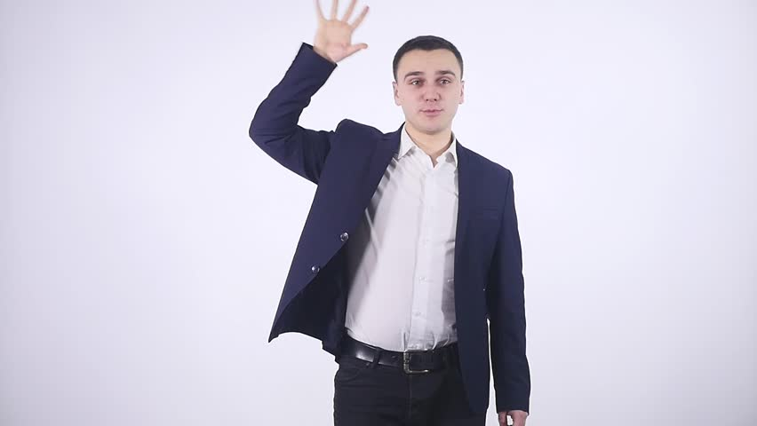 man getting excited by results on white background.
