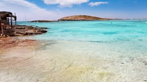 beach of Illetes Illetas with turquoise water in Formentera near Ibiza at Balearic Islands of Spain