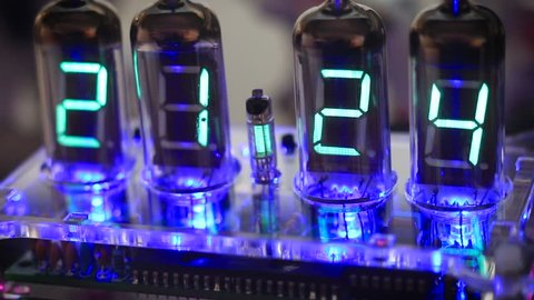 Nixie LED tube clock with LED light 21:24