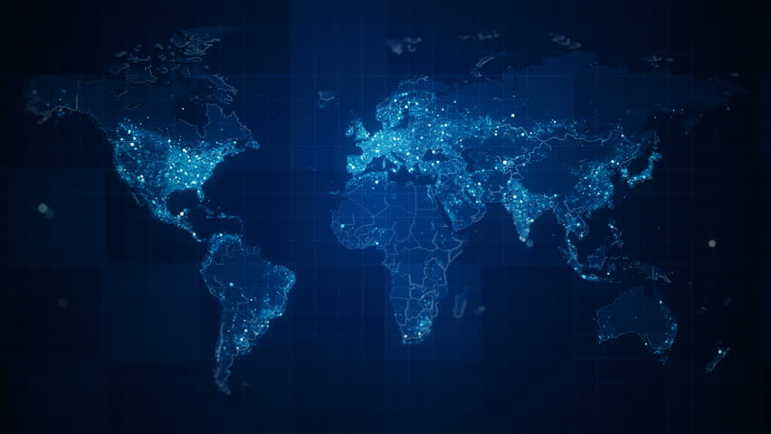 Global Blue World Map Loop. This animated World map with visual effects and glowing connections in different places on the map. Perfect for slideshows, presentation, trailers, sci-fi openers and etc.