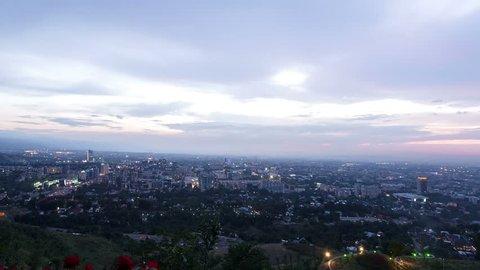 City at dusk Almaty, Kazakhstan time lapse.