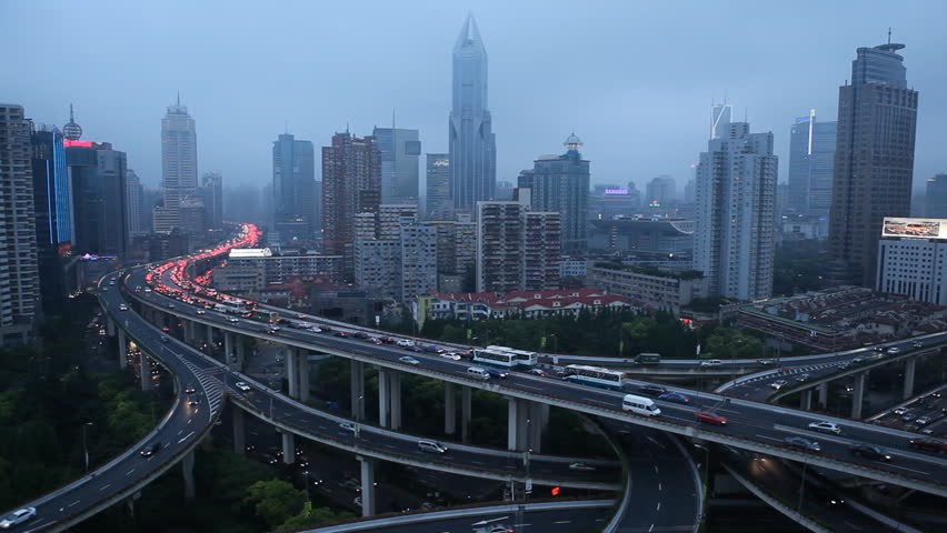 SHANGHAI, CHINA – MAY 9 2012: Aerial View of Shanghai busiest highway, Yan'an East Road Overpass, Interchange #2498630
