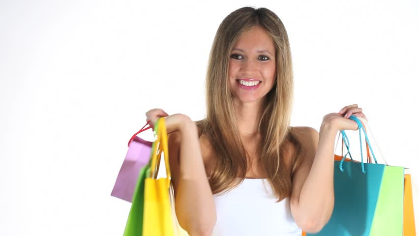 smiling woman shopping in sale period