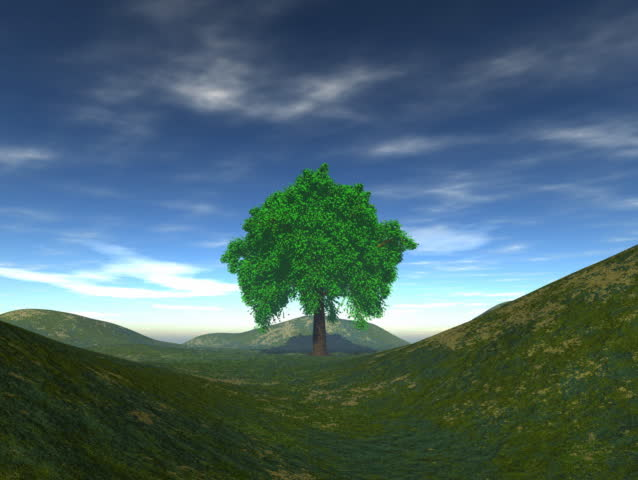 Computer-generated animation depicting a tree in a hilly field