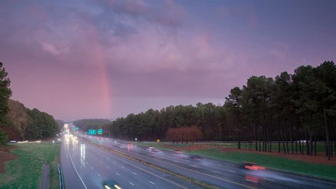 Severe Rain Storm Wet Driving Timelapse on Interstate 40 Traffic in Raleigh NC with Fast Moving Clouds and Vehicles at Sunset