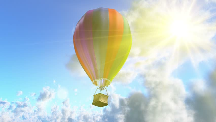 flying aerostat with basket, sun flare and cloud layer, and place for logo