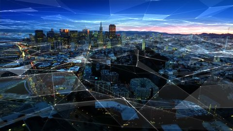 Financial District at sunset. Connected San Francisco skyline. Aerial view. California, United States. Futuristic network. Technology.
