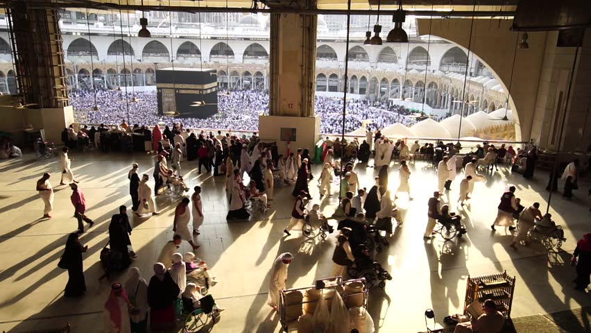 MECCA, SAUDI ARABIA - JANUARY 28: Muslim pilgrims from all around the World revolving around the Kaaba on January 28, 2017 in Mecca Saudi Arabia. Muslim people praying together at holy place.