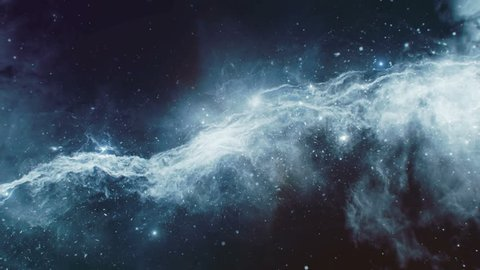 3D animation of space flight through space towards blue nebula; suitable for scientific presentations and sci-fi projects