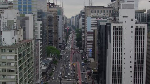 Aerial view of Paulista avenue at Sao paulo, Brazil
