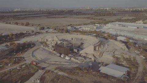 Caesarea - 07 April 2016:  Caesarea beach, Israel. Aerial footage 1080p  Log flat