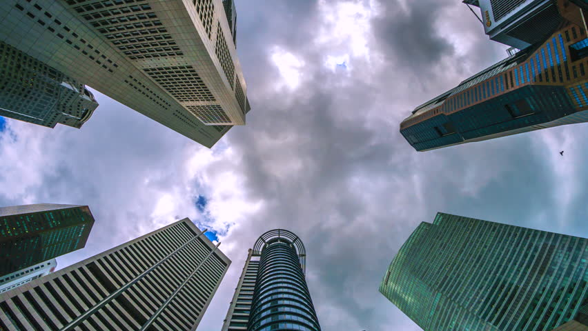 4k. Time lapse building and sun with cloud view of central business district in Singapore city | Shutterstock HD Video #25107830