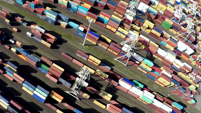 Aerial bird view of container terminal intermodal container is standardized shipping container designed and built for intermodal freight transport are used across different modes of transport 4k