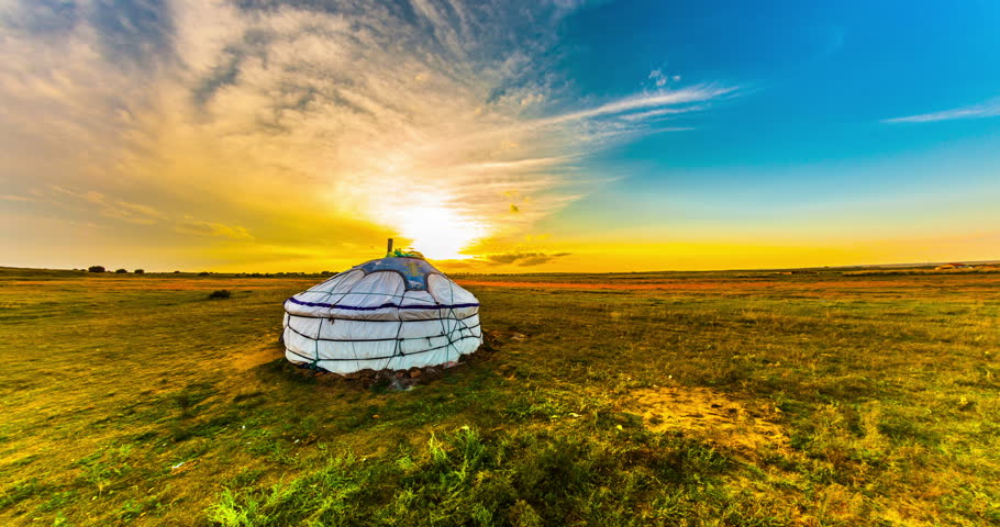 Yurt in the steppe, Mongolia. 4k time lapse