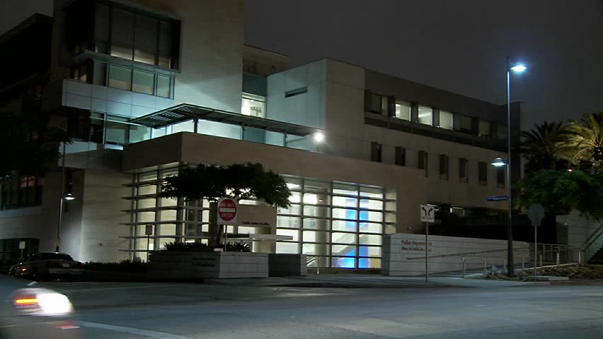 LOS ANGELES - CIRCA 2010 - A police station near Century City in Los Angeles at night.