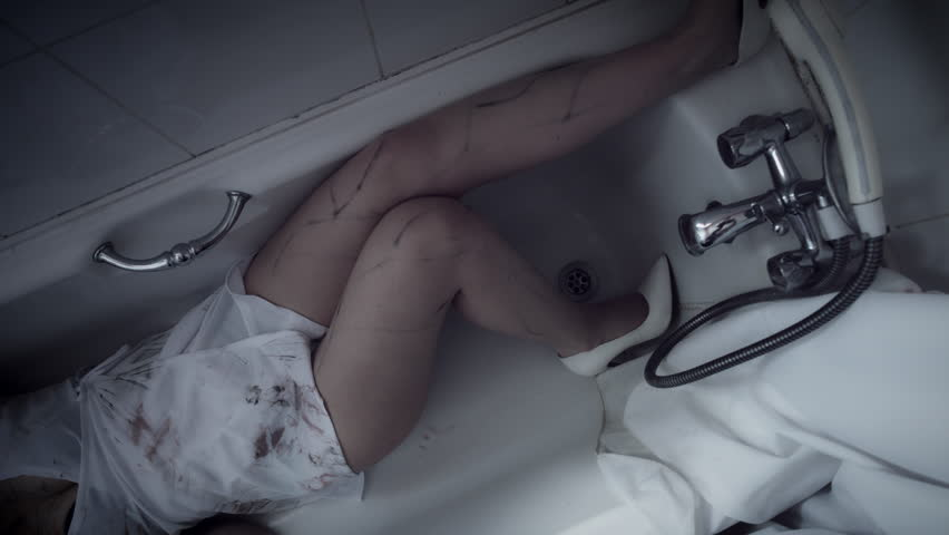 Nurse Zombie Laying down in Bathtub