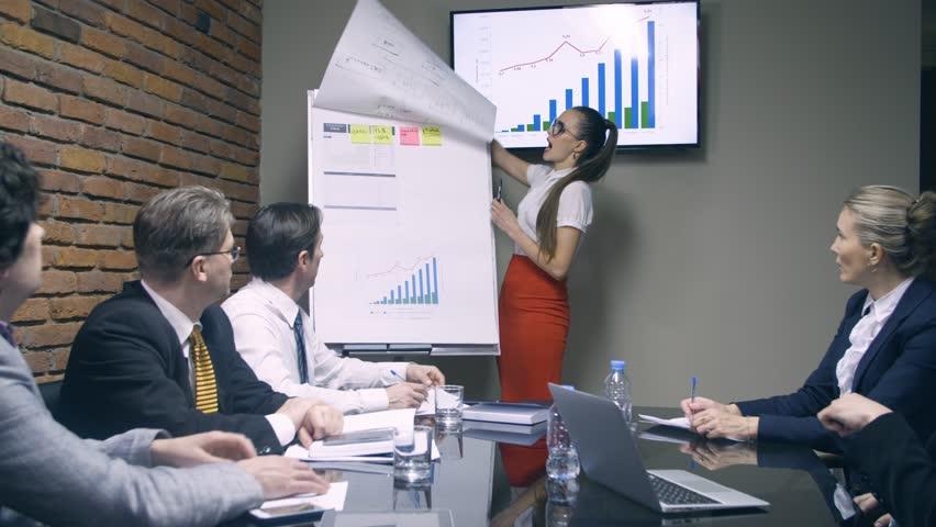 Businesswoman making presentation fo colleagues