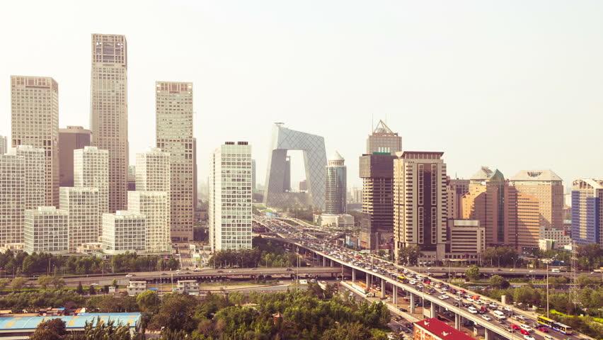 highway through modern city, Beijing, Time lapse