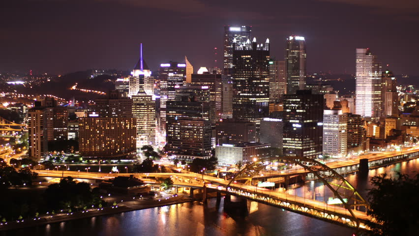 Dramatic nighttime time lapse shot of Pittsburgh, PA.  As seen from Mount