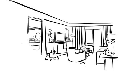 Sketched Hotel Room Interieur Animation Sequence. Hand-drawn Artwork. 5 seconds buildup and 5 seconds teardown motion sequence.