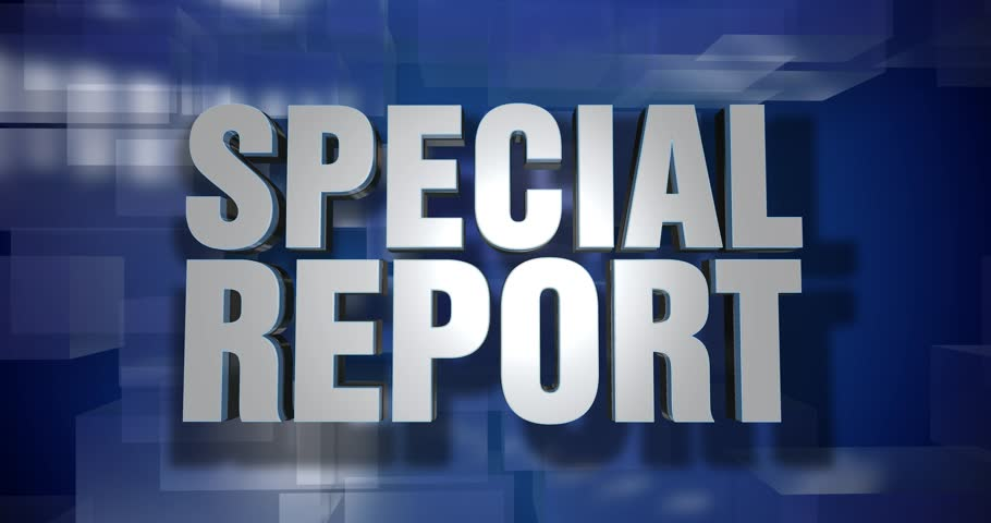 A blue dynamic 3D Special Report news transition and title page animation. 5 and 2 second options included with optional luma matte for both.  | Shutterstock HD Video #25308410