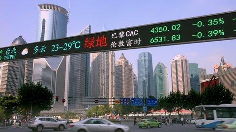 Stock market tickers financial Dow Jones index digital electronic display billboard in Shanghai, China, 4K, from RAW