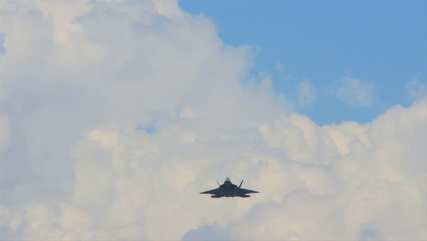 QUONSET, RHODE ISLAND - JUNE 2012: Air force F-22 Raptor with bomb bay doors open at the Rhode Island National Guard Open House and Air Show in June 2012.