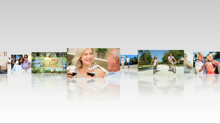 Montage of 3D tablet images showing lifestyle activities of young and senior couples