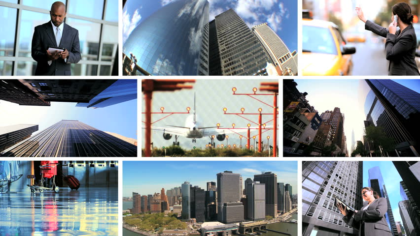 Montage collection modern business people using wireless communication and travel