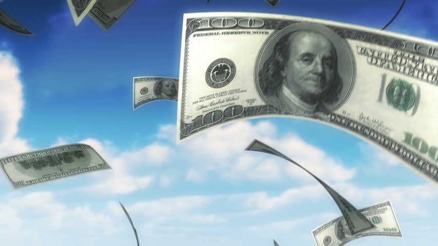 Money from Heaven - USD (Loop). Falling 100 dollars bills. Seamless loop, slight motion blur for realistic movement.