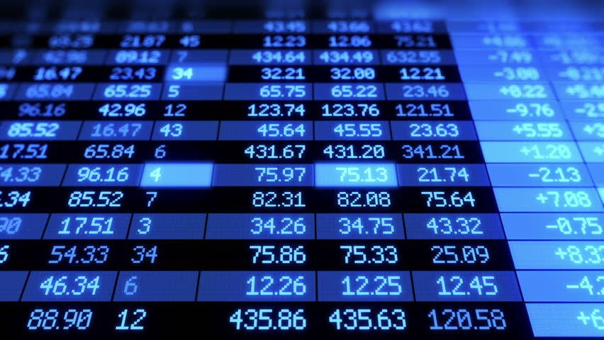 Stock Market board moving. Blue color. Looped animation. HD 1080.