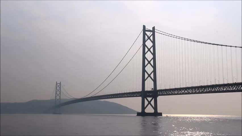 Akashi Strait Bridge in Kobe, the longest  suspension bridge in the world