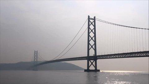 Akashi Strait Bridge in Kobe, the longest  suspension bridge in the world