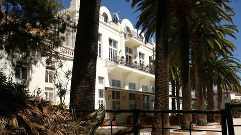 A huge white multi-storey estate in palm trees. Herceg Novi, Montenegro.