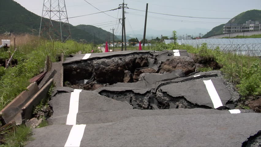 Earthquake damaged roads in Minamiaso, Kumamoto, Japan