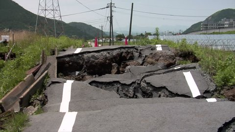 Earthquake damaged roads in Minamiaso, Kumamoto, Japan