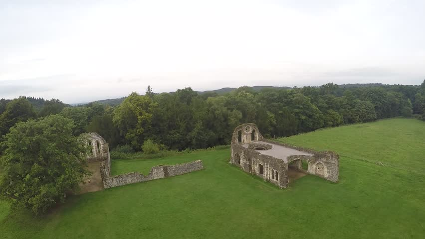 Old Abbey Drone Footage - HD stock footage clip