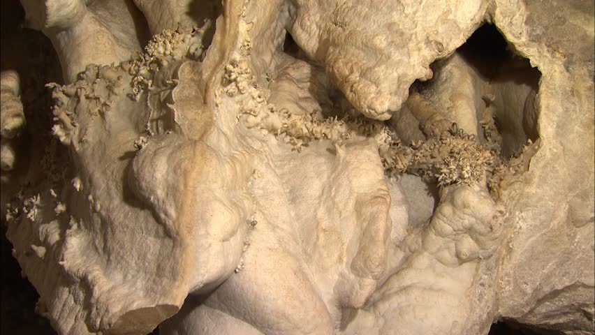 Group of broken stalactites in cave
