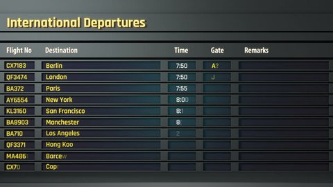 Airport flight information displayed on departure board, flight status changing. Airport timetable and information display