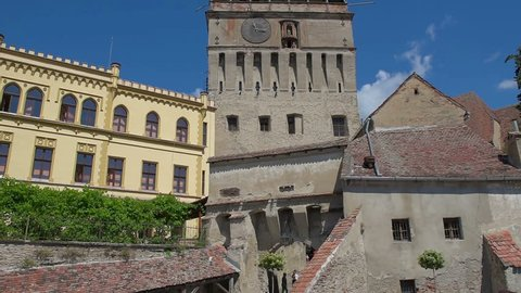 view of the old city of Sighisoara in sunny day, the old medieval city