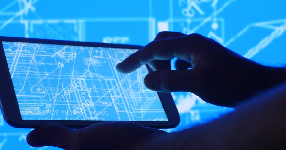 Industry development design blueprint plans on tablet computer. | Shutterstock HD Video #25509410