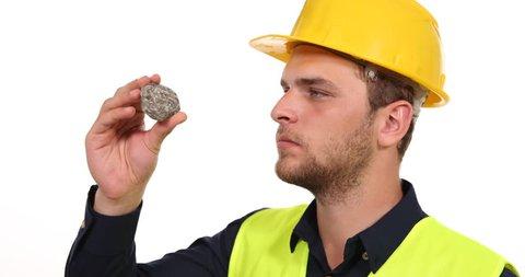 Geologist Engineer Man Examine Granite Natural Iron Rock Mineralogy Industry