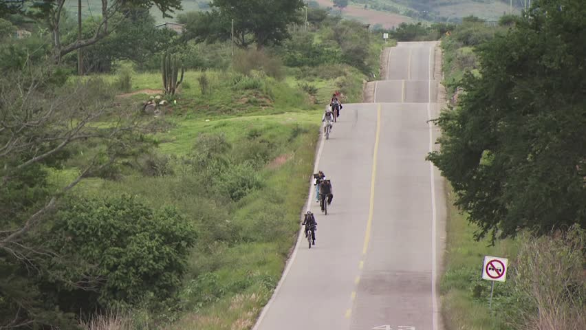 High Angle View of Cyclists Riding In a Mexican Pilgrimage for Christ 2