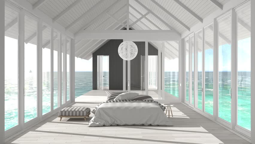 Minimalist Bedroom With Big Windows Stained Glass And Terrace On