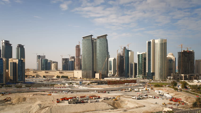 New skyline of the West Bay central financial district of Doha, Qatar