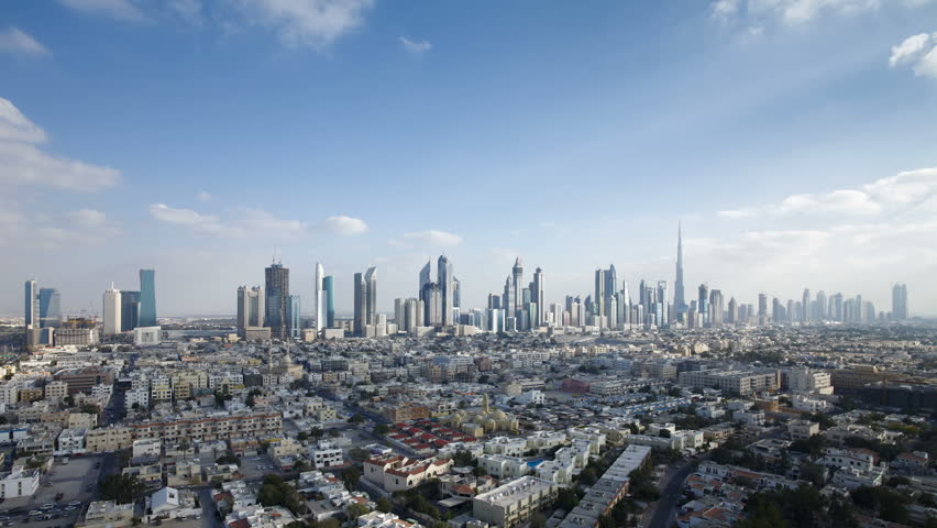 an elevated view of the new Dubai skyline of modern architecture and skyscrappers on Sheikh Zayed Road in the United Arab Emirates, Dubai