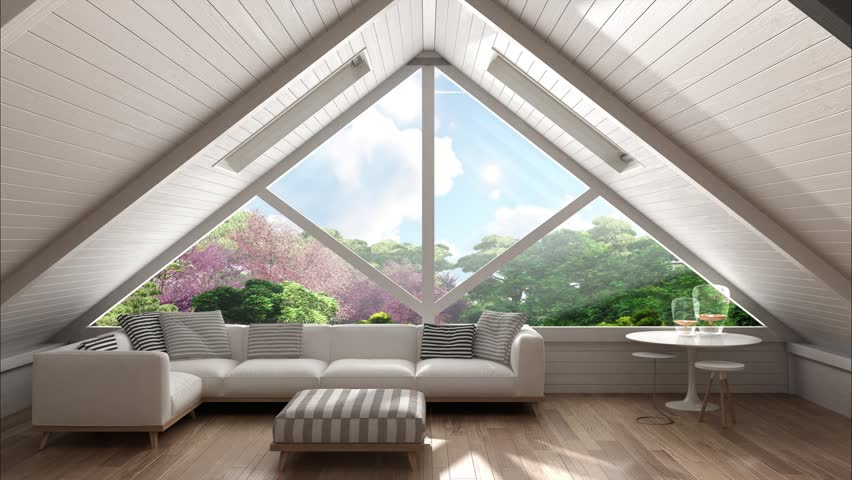 Panoramic window on eastern garden, mezzanine loft, living room with relaxing sofa, minimalist scandinavian interior design, 3d illustration