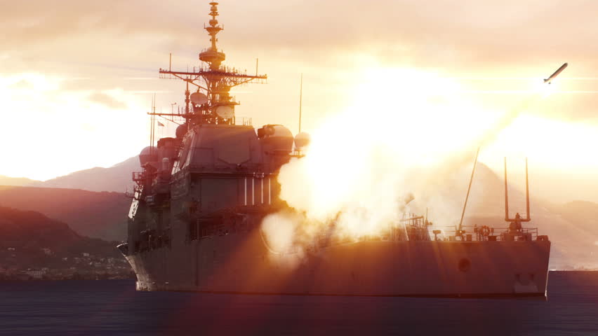 3D animation of a Navy vessel firing off a long range missile.