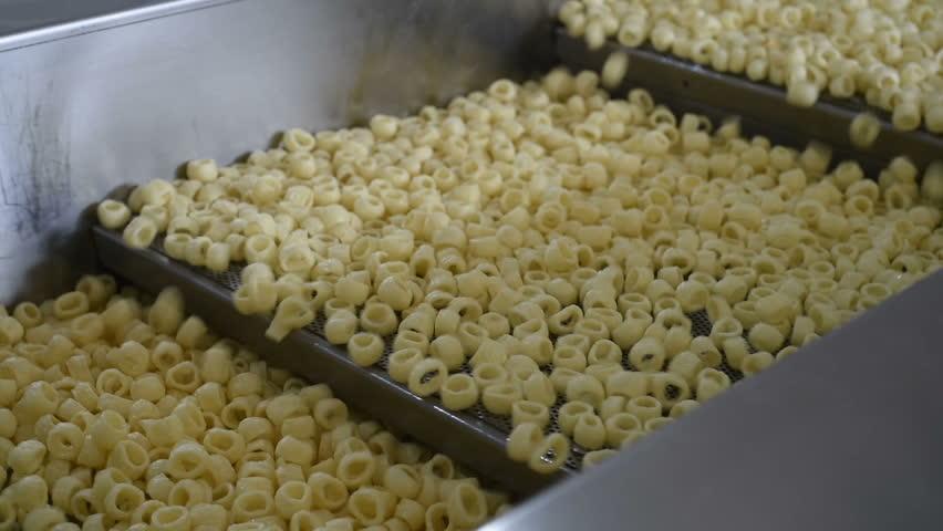 Potato snacks on the conveyor belt #25677830
